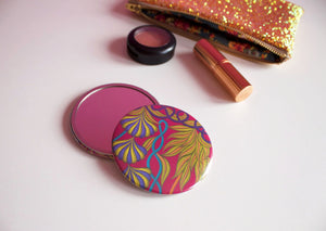 Pink Tropical Pattern Pocket Mirror