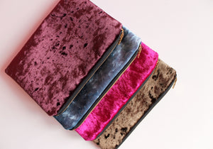 Blue Velvet Makeup Bag