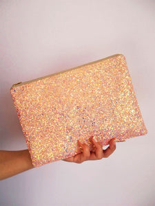 sparkly pink clutch bag