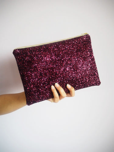 sparkly plum glitter bag