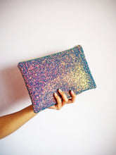 sparkly purple rainbow clutch bag