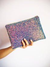 purple rainbow glitter party bag