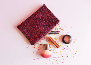 Plum Glitter Makeup Bag