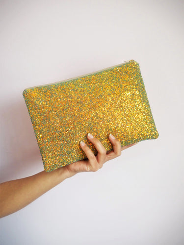 Rust Gold Glitter Clutch Bag
