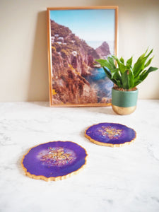 iridescent purple geode placemats