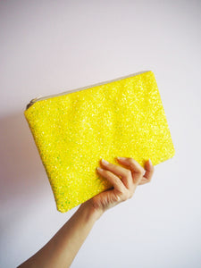 sparkly yellow evening bag