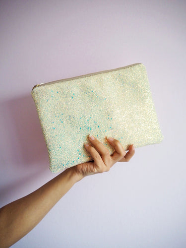 pastel yellow glitter clutch bag