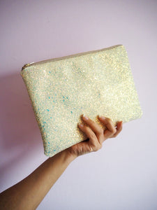 sparkly yellow clutch bag