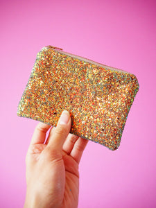 rust gold glitter coin purse with a copper shimmer