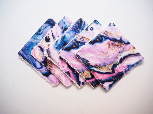 marble print reusable wipes