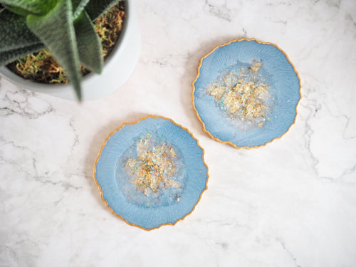 dusty blue resin coasters