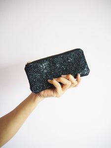 black glitter sunglasses case