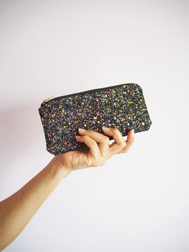Glitter Sunglasses Case in Black Iridescent