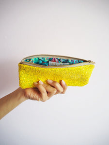 Glitter Sunglasses Case in Lemon Yellow