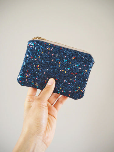 Glitter Coin Purse in Multicoloured Navy