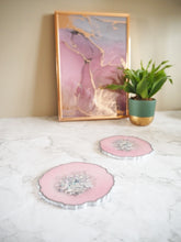 pastel pink iridescent resin coasters