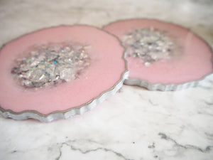 silver & pink geode resin coaster set