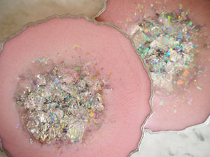 silver iridescent resin coasters