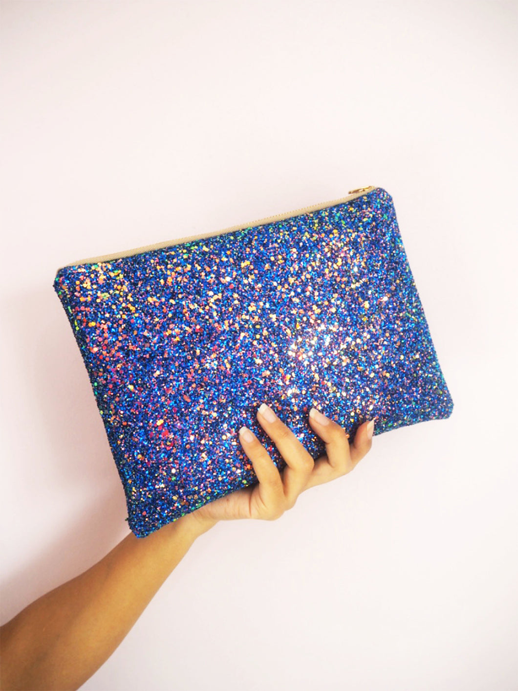 sparkly royal blue clutch bag