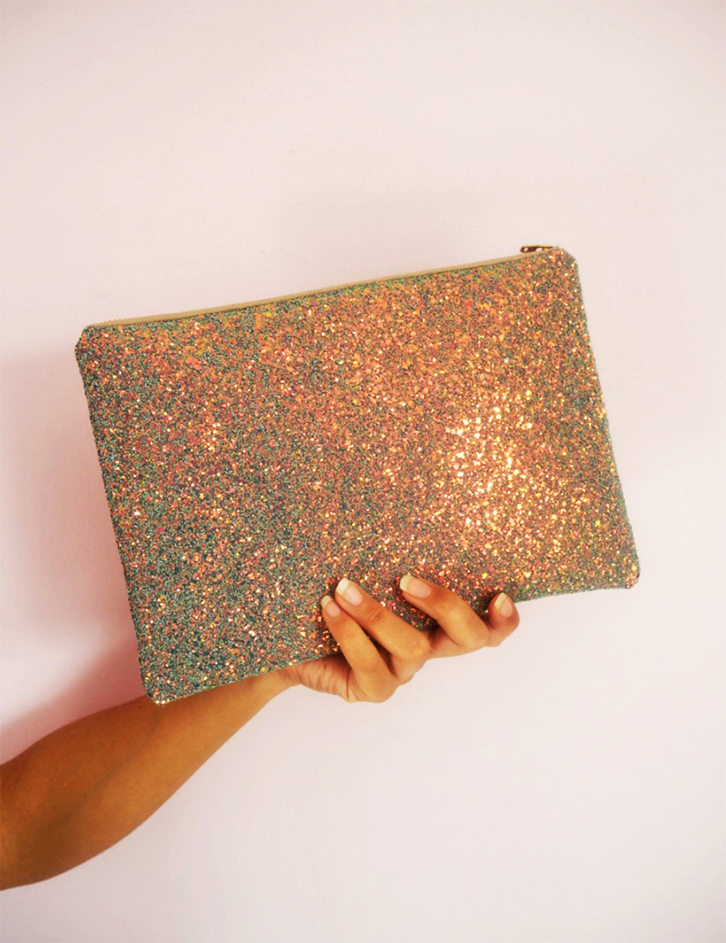 rose gold glitter clutch bag