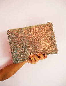 sparkly rose gold clutch bag