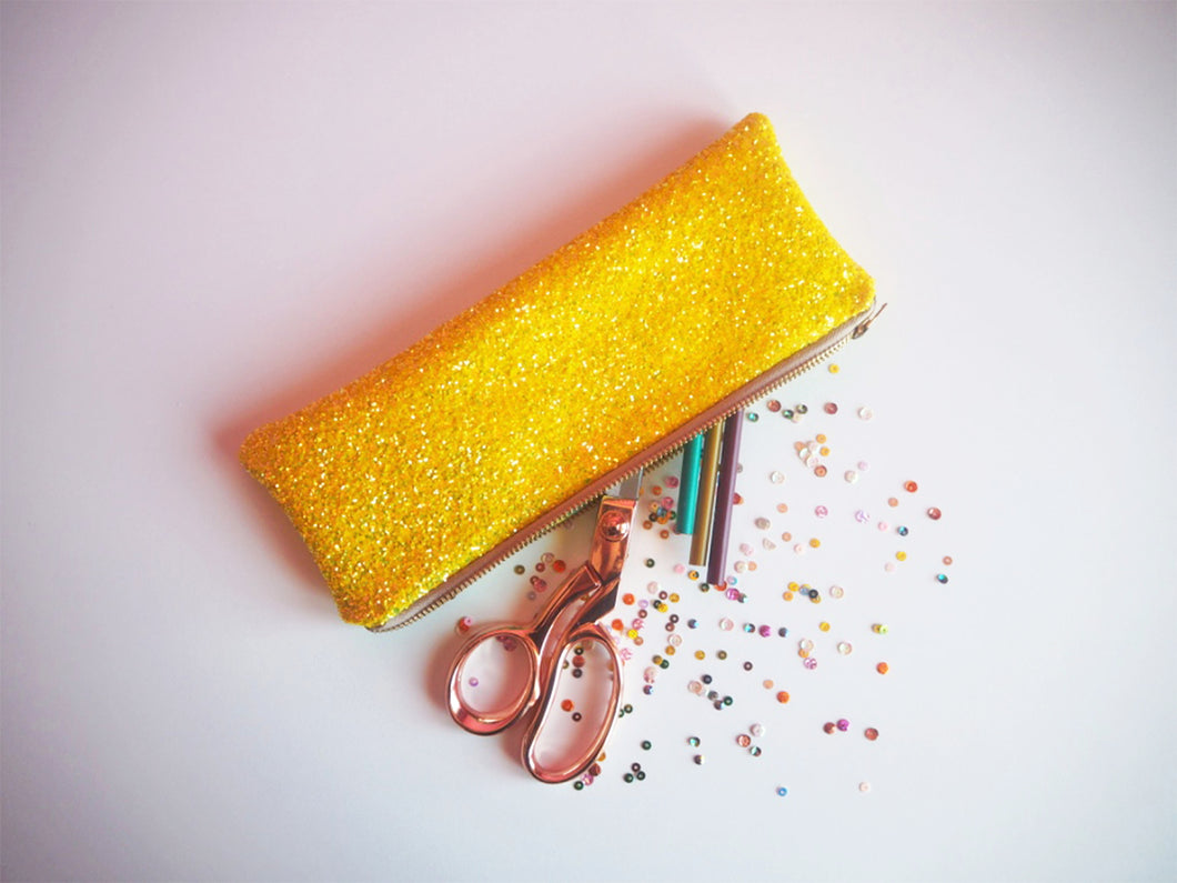 yellow glitter pencil case