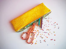 sparkly yellow pen case