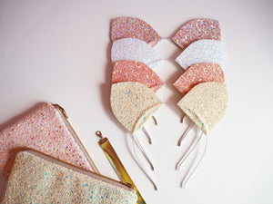 pastel glitter cat ears headband