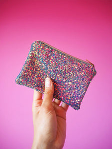 purple rainbow glitter coin purse with iridescent shimmer