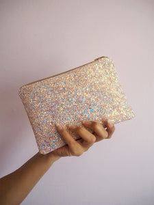 pink iridescent glitter makeup bag