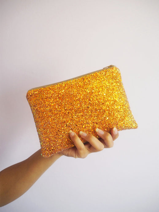 Burnt Orange Glitter Makeup Bag
