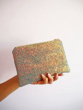 grey glitter makeup bag