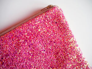 pink glitter coin purse with gold zip