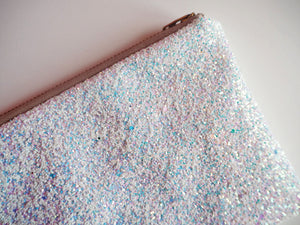 White Iridescent Glitter Clutch Bag