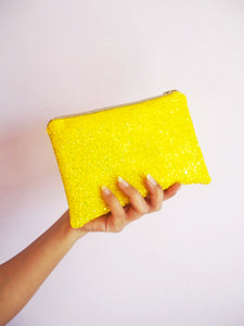 yellow glitter makeup bag