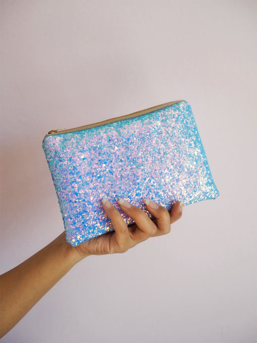 Sea Blue Glitter Makeup Bag
