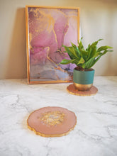 pale peach geode coaster set