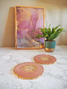 pale peach resin coaster set