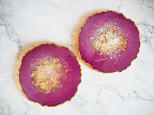 sparkly purple geode resin coasters