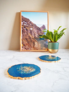 cobalt blue geode resin coaster set