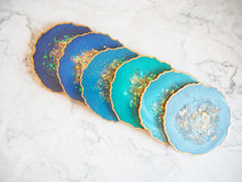 iridescent blue geode coaster set