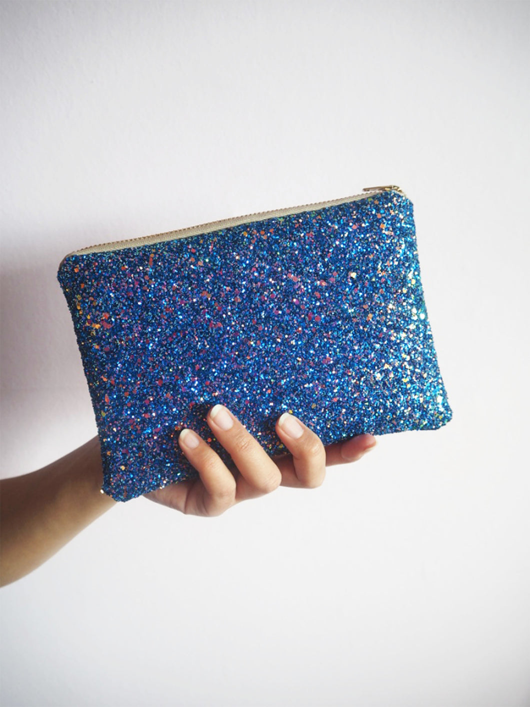 sparkly royal blue makeup bag