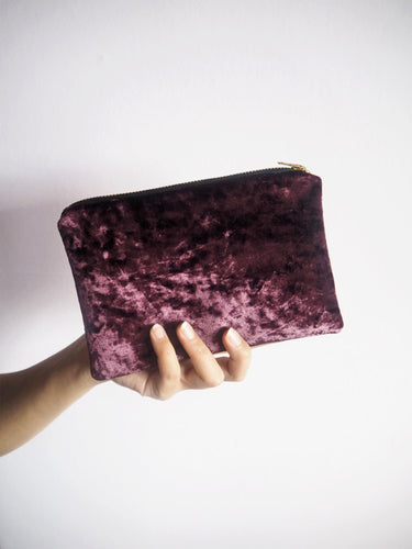 purple velvet makeup bag with gold zip