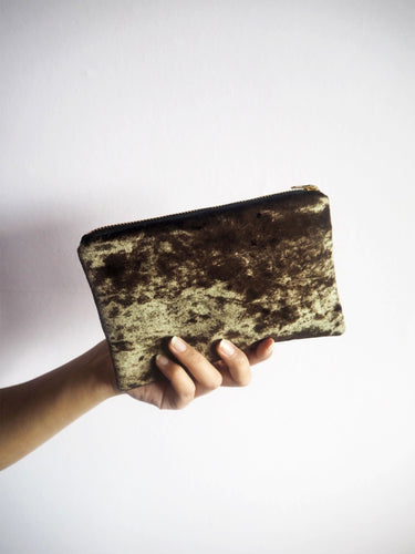 brown velvet makeup pouch