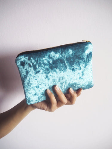 blue velvet makeup bag with gold zip