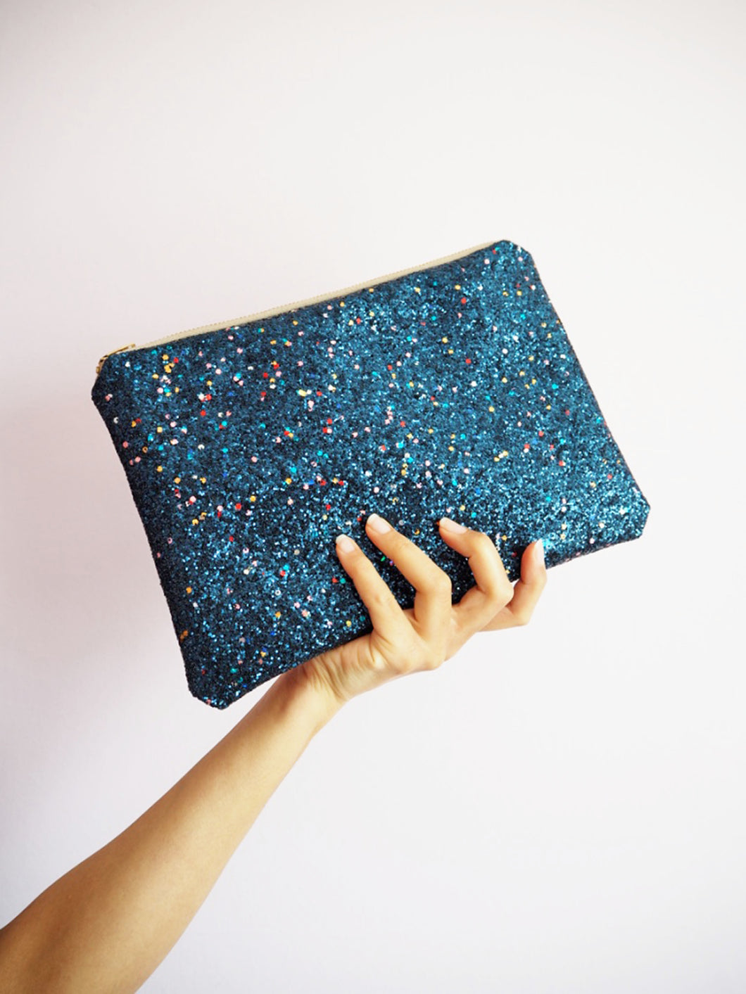 Glitter Clutch Bag in Multicoloured Navy