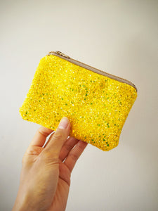 Lemon Yellow Glitter Coin Purse