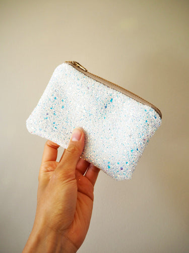 Iridescent White Glitter Coin Purse