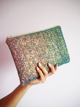 sparkly purple iridescent clutch bag