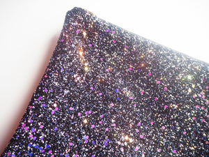 black iridescent glitter cosmetic bag